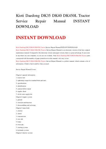 page 1  kioti daedong dk35 dk40 dk450l tractor service repair manual  instant download