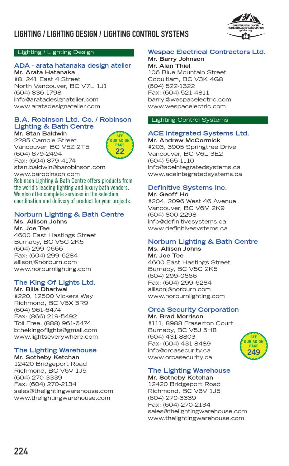 Greater Vancouver Home Builders Association Directory - 2014 by