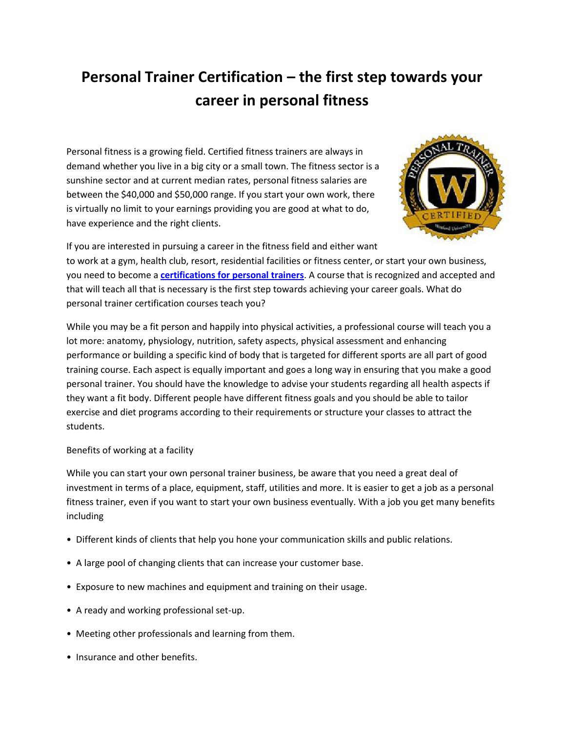 Personal Trainer Certification Comparison By Seoissu Issuu