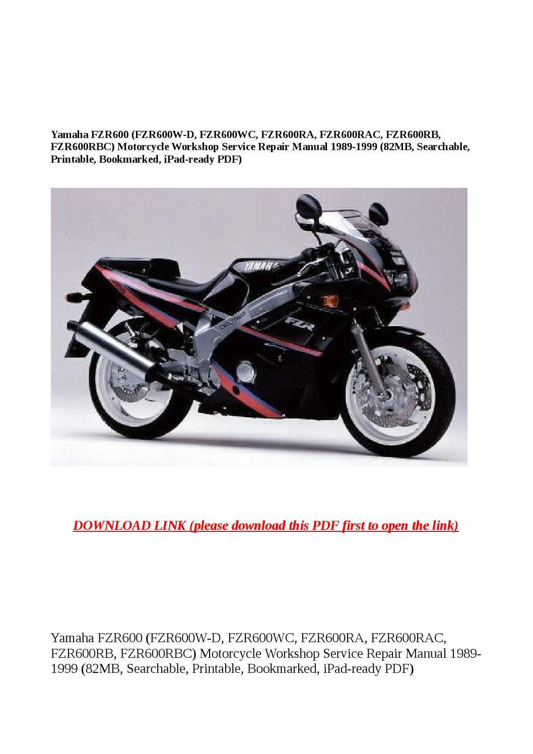 Yamaha fzr600 (fzr600w d, fzr600wc, fzr600ra, fzr600rac, fzr600rb,  fzr600rbc) motorcycle workshop se by buhbu - issuu