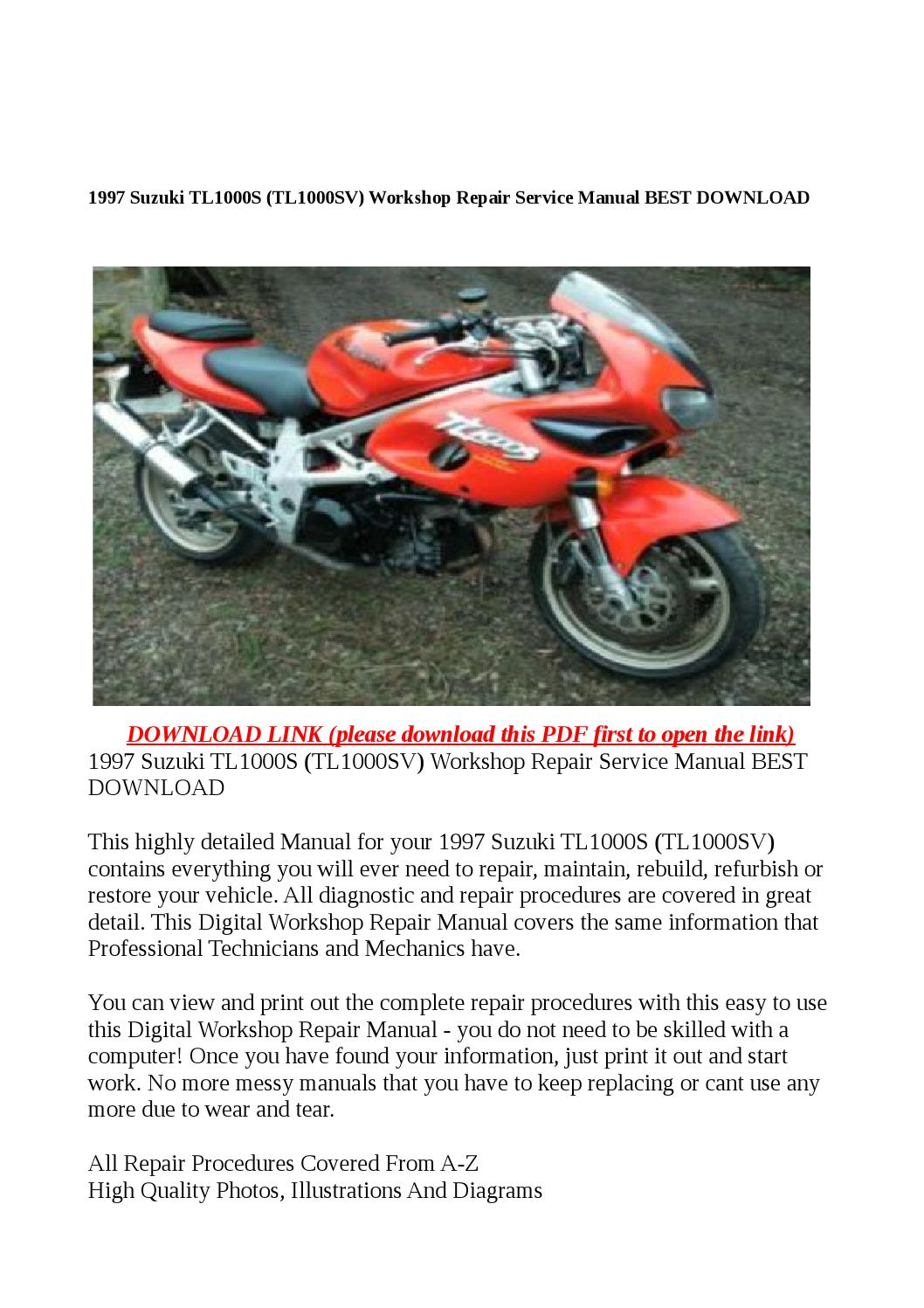 1997 suzuki tl1000s (tl1000sv) workshop repair service manual best download  by buhbu - issuu