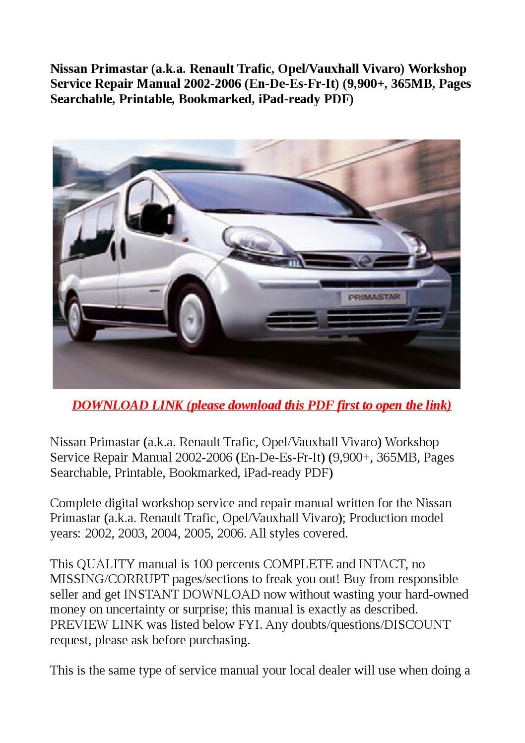Nissan primastar (a k a renault trafic, opel vauxhall vivaro) workshop se  by buhbu - issuu