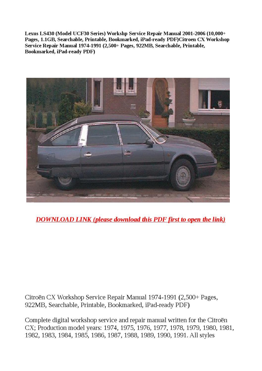 Citroen Cx Workshop Service Repair Manual 1974 1991  2 500