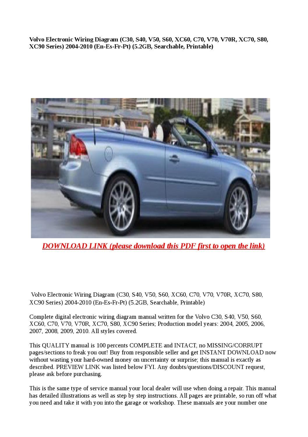 Volvo Electronic Wiring Diagram C30 S40 V50 S60 Xc60 C70 V70 Xc70 V70r S80 Xc90 Series 2 By Buhbu Issuu