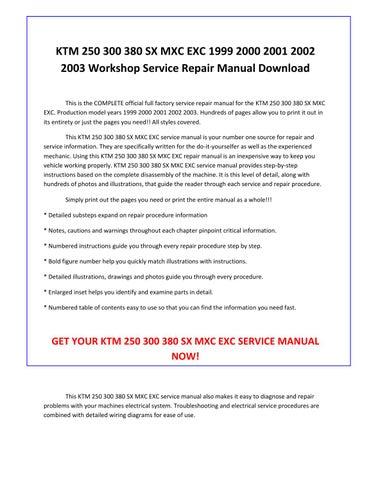 ktm 250 300 380 sx mxc exc 1999 2000 2001 2002 2003 service repair manual  pdf download