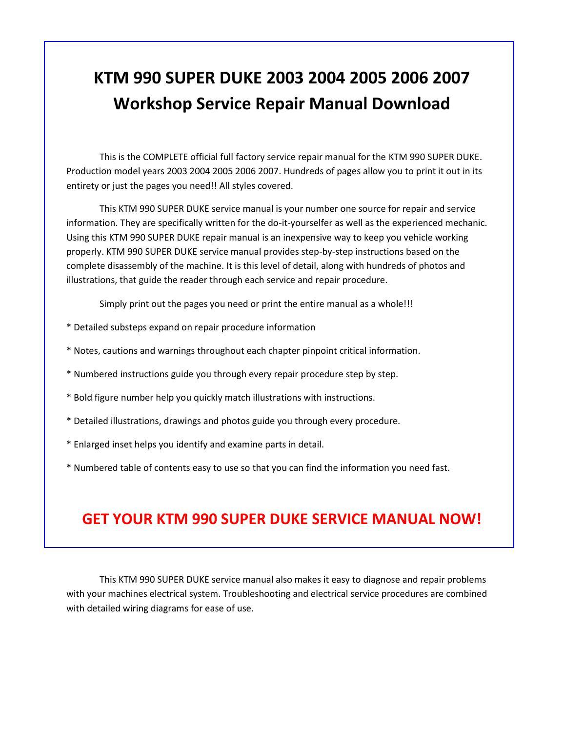 Ktm 990 super duke 2003 2004 2005 2006 2007 service repair manual pdf  download by sparchita3 - issuu