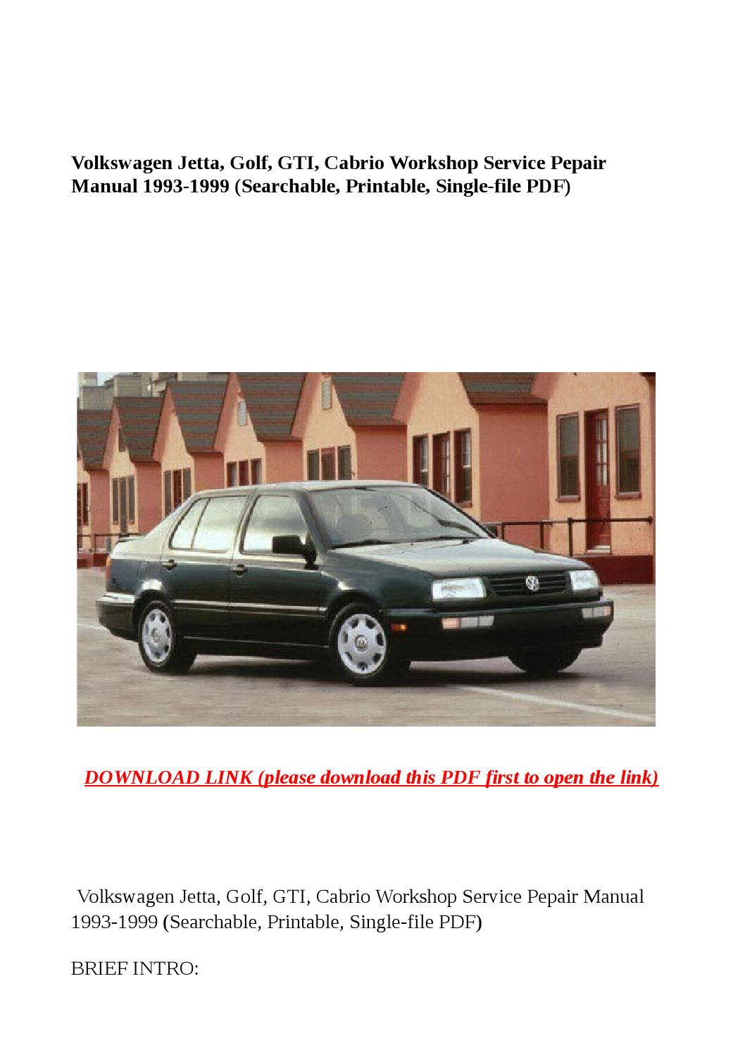 vw cabrio repair manual pdf