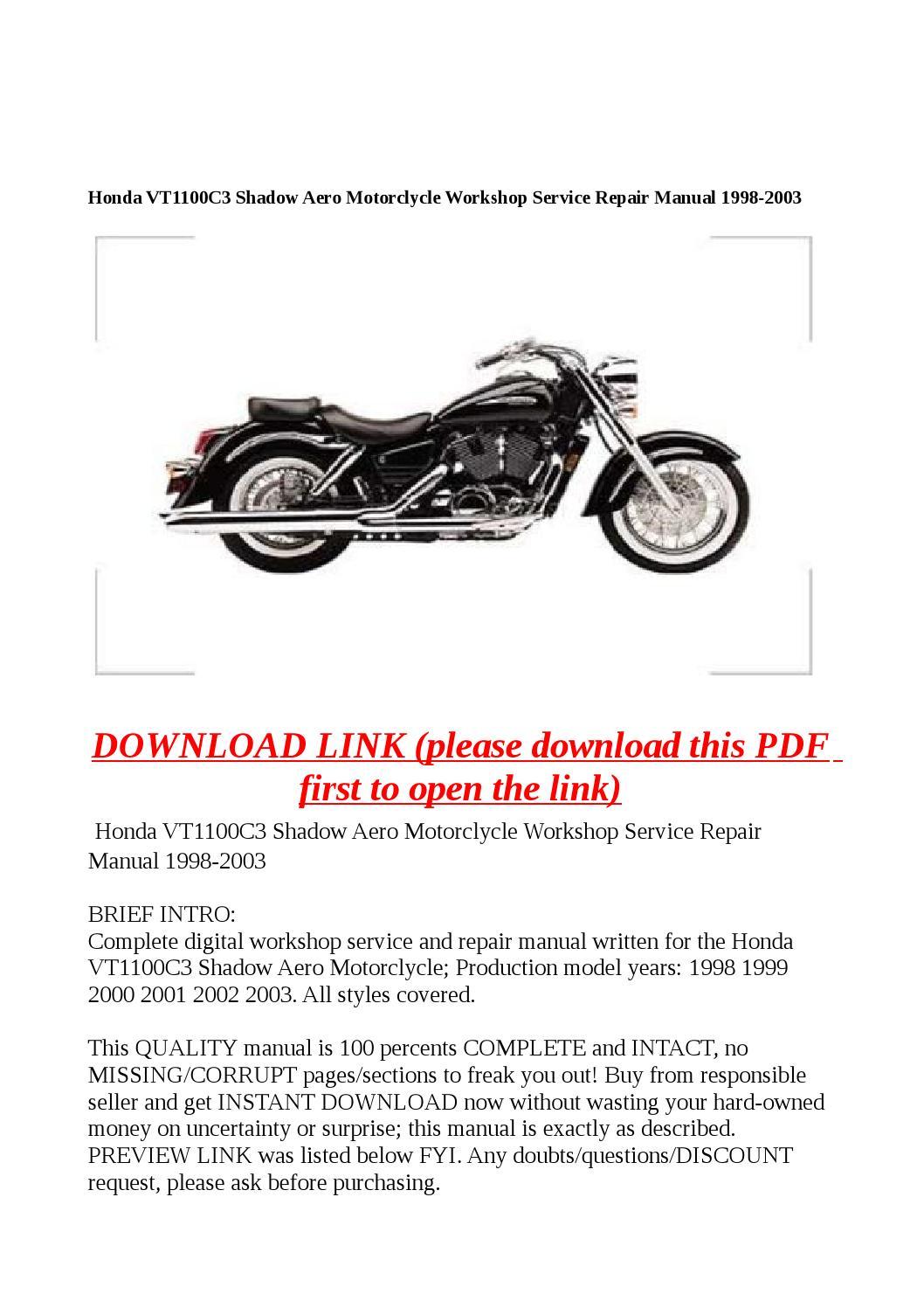 honda vt1100c3 shadow aero motorclycle workshop service. Black Bedroom Furniture Sets. Home Design Ideas