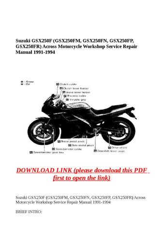 suzuki gsx250f gsx250fm gsx250fn gsx250fp gsx250fr across rh issuu com Parts Manual Owner's Manual