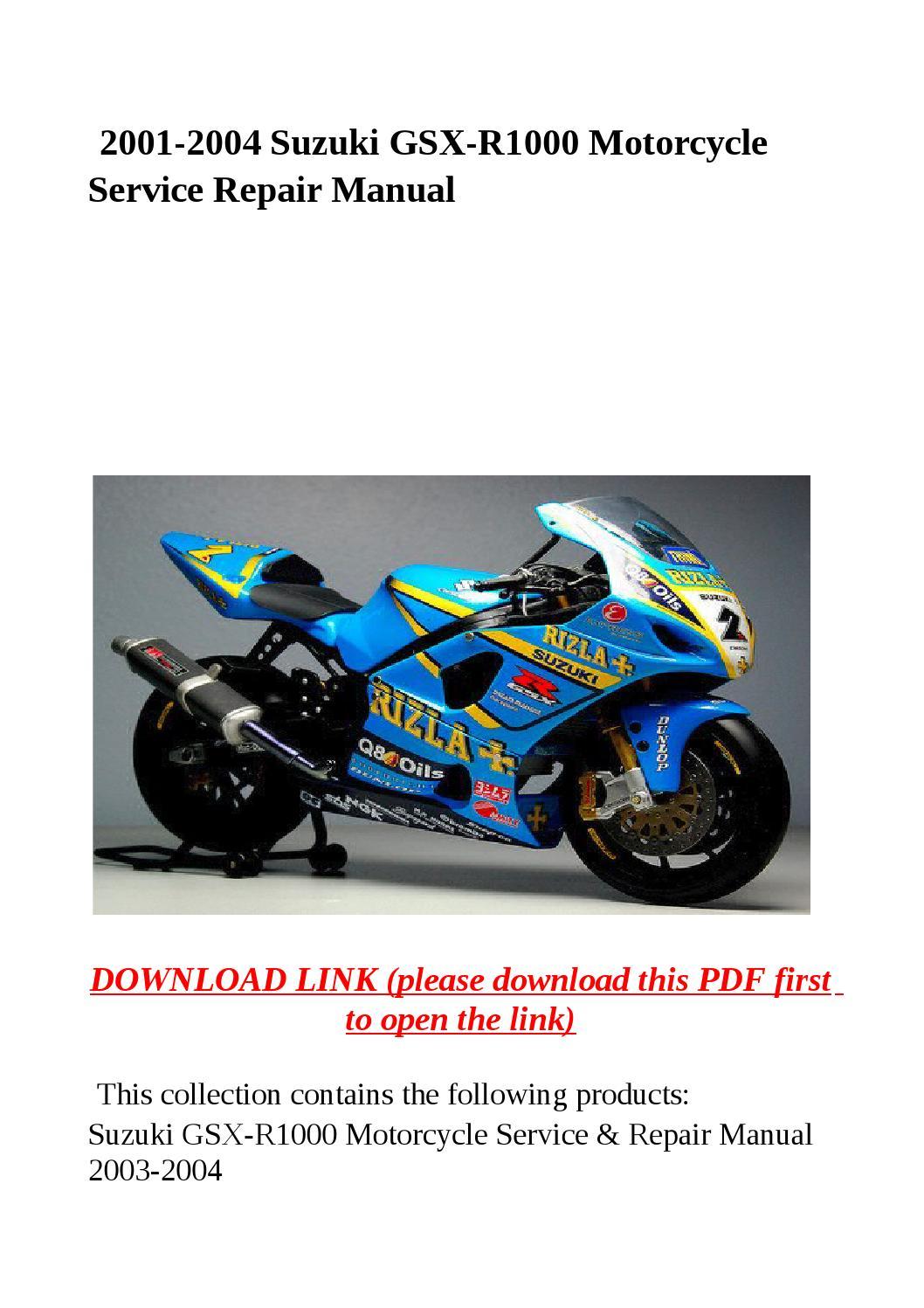 2001 2004 suzuki gsx r1000 motorcycle service repair manual by yghj - issuu