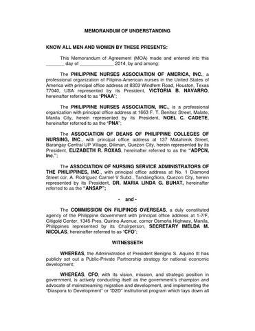 Pnaa Memorandum Of Agreement 22 January 2014 By Admini Web Issuu