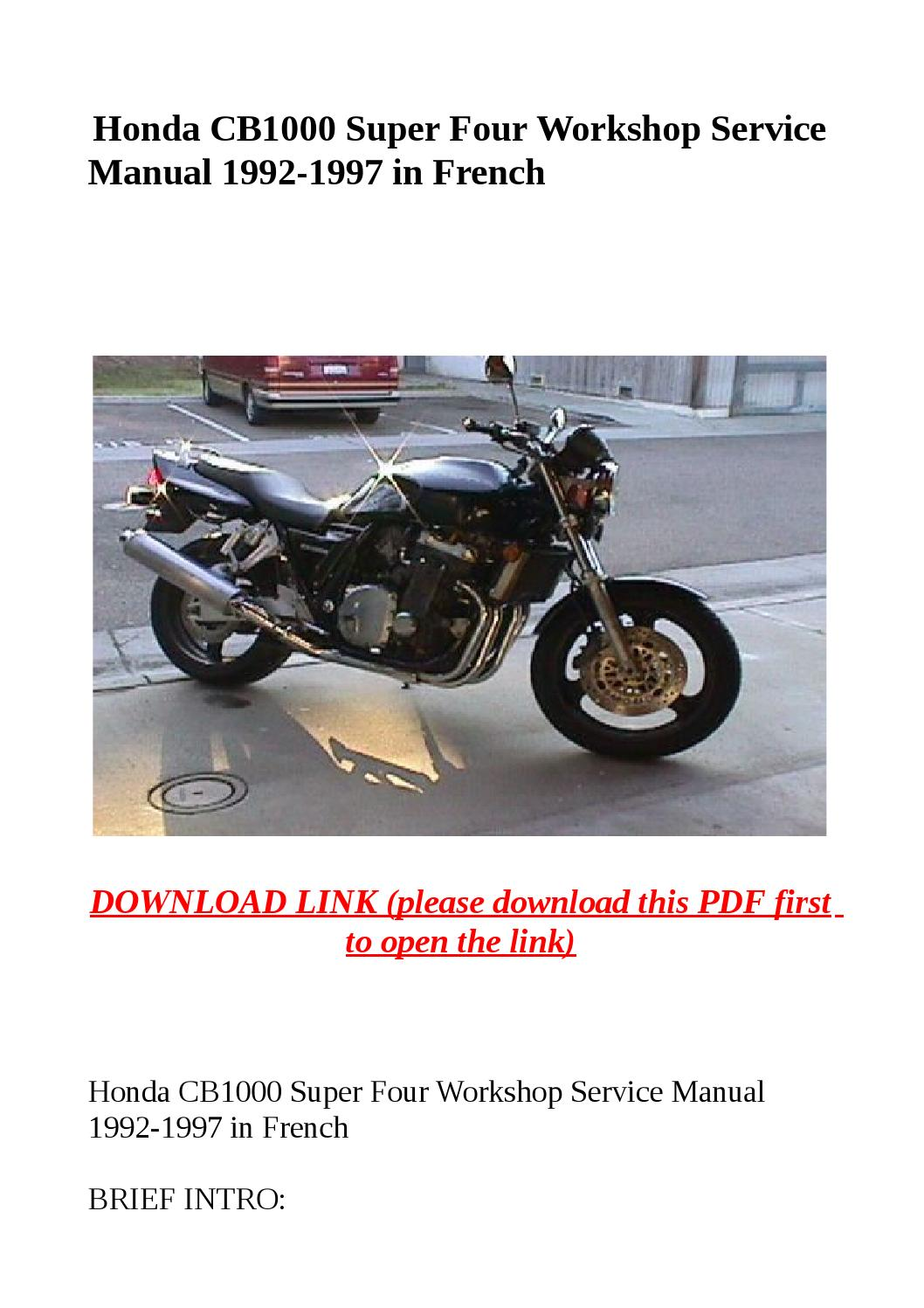Honda cb1000 super four workshop service manual 1992 1997 in french by yghj  - issuu