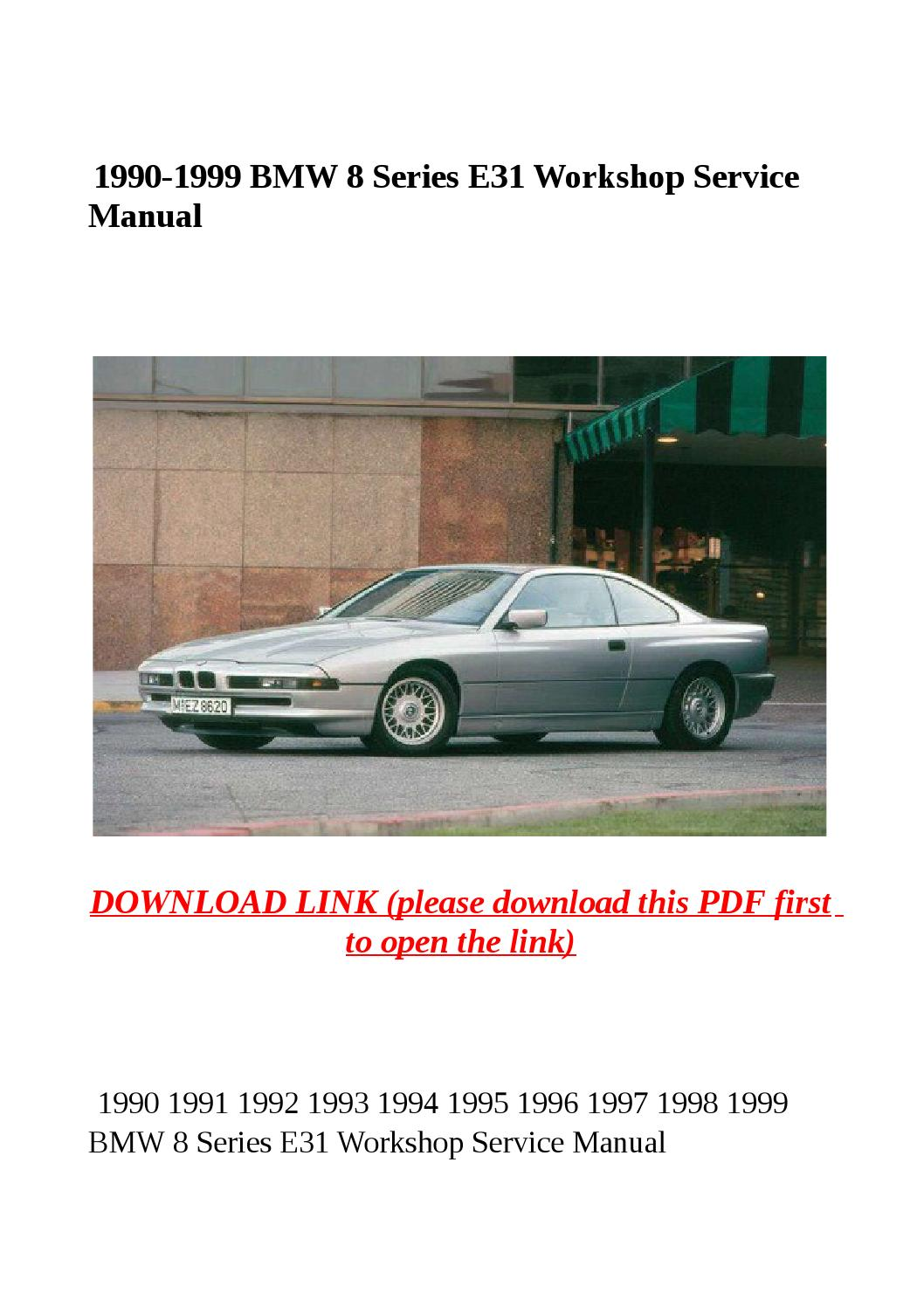 service manual bmw 8 series e31 1993 factory service. Black Bedroom Furniture Sets. Home Design Ideas