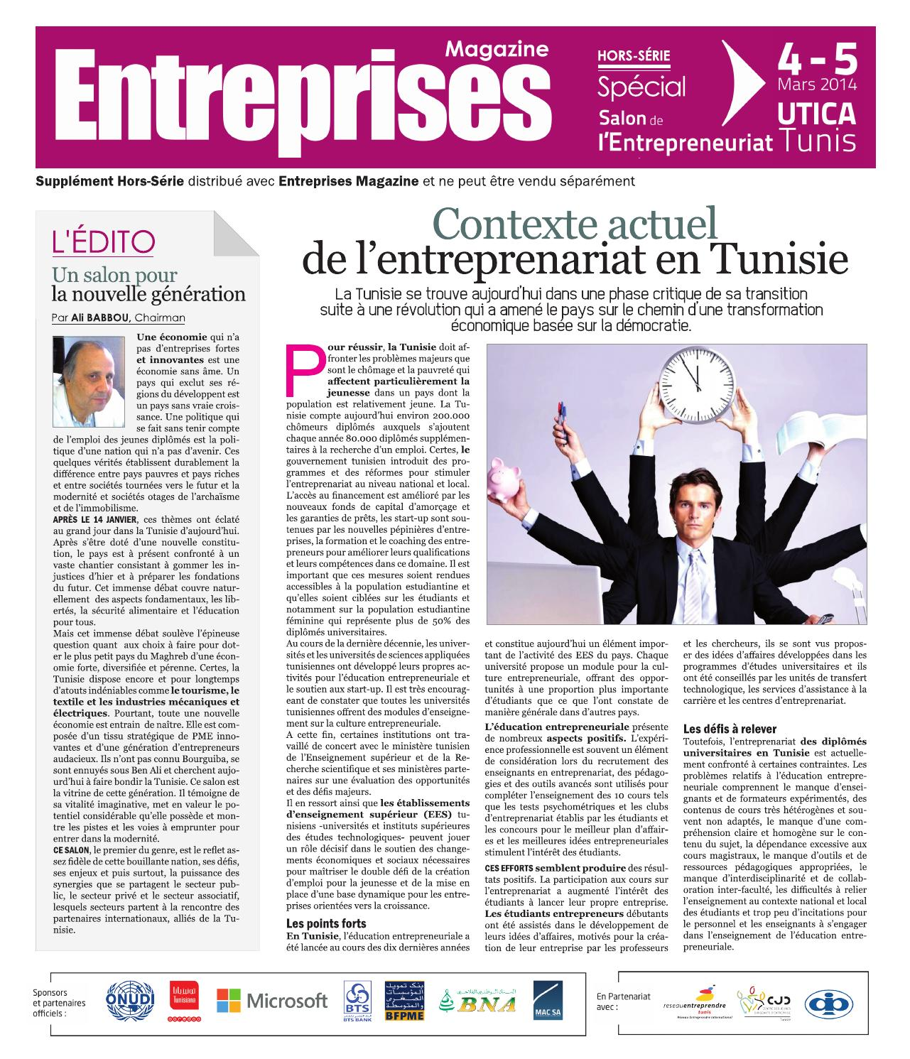 Journal du salon de l 39 entreprenariat tunisie by tunisie for Salon entreprenariat