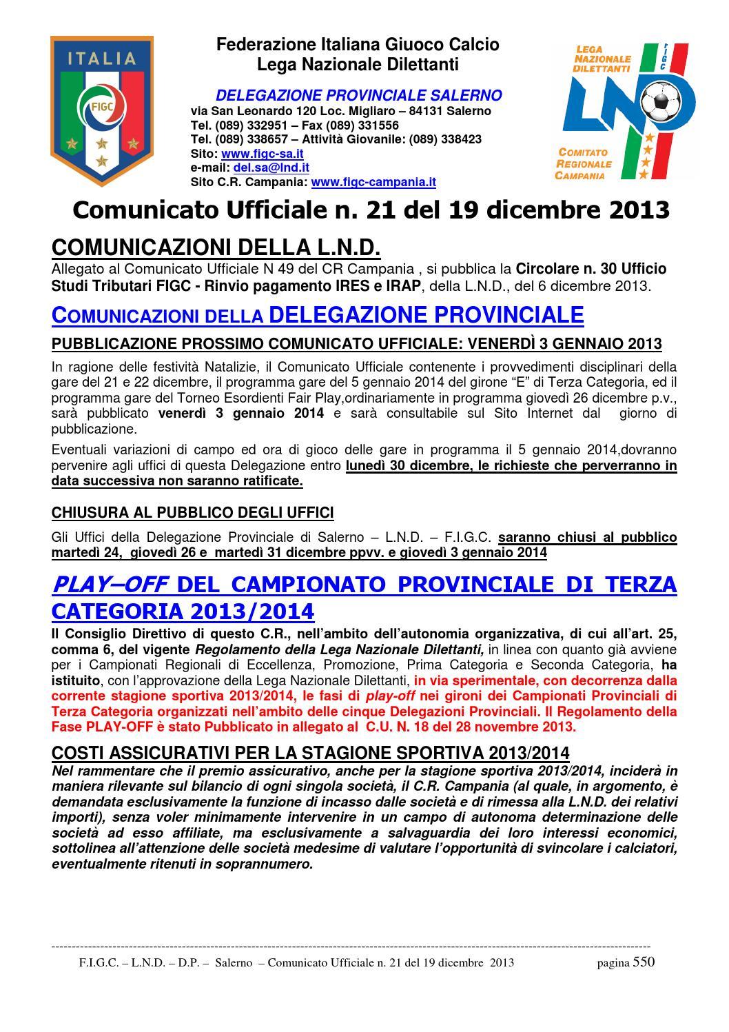 Calendario Figc Pulcini 2006.Figc Sa C U 21 Doc By Ruben Buriani Issuu
