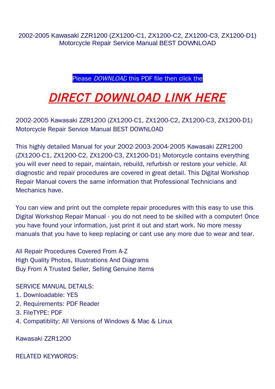 2002 2005 kawasaki zzr1200  zx1200 c1  zx1200 c2  zx1200 c3  zx1200 d1  motorcycle repair ZZR1200 Accessories ZZR1200 Review