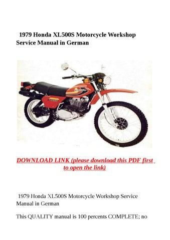 1979 honda xl500s motorcycle workshop service manual in german by rh issuu com Xl500 Cafe Honeywell Xl500