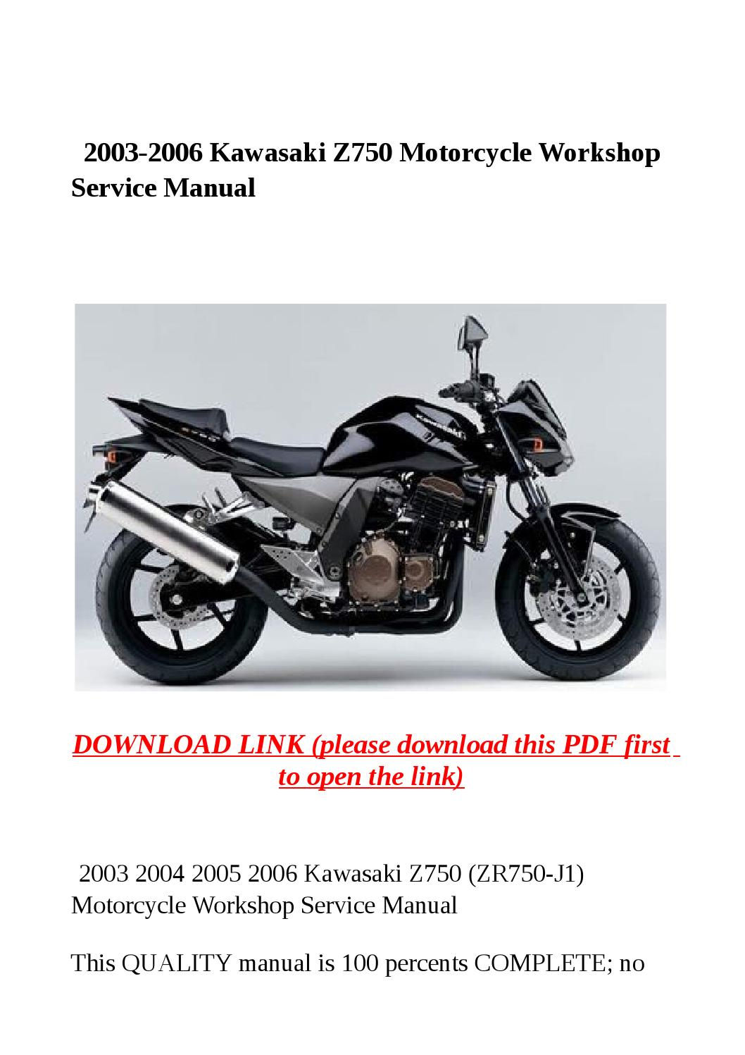 2003 2006 kawasaki z750 motorcycle workshop service manual by yghj - issuu