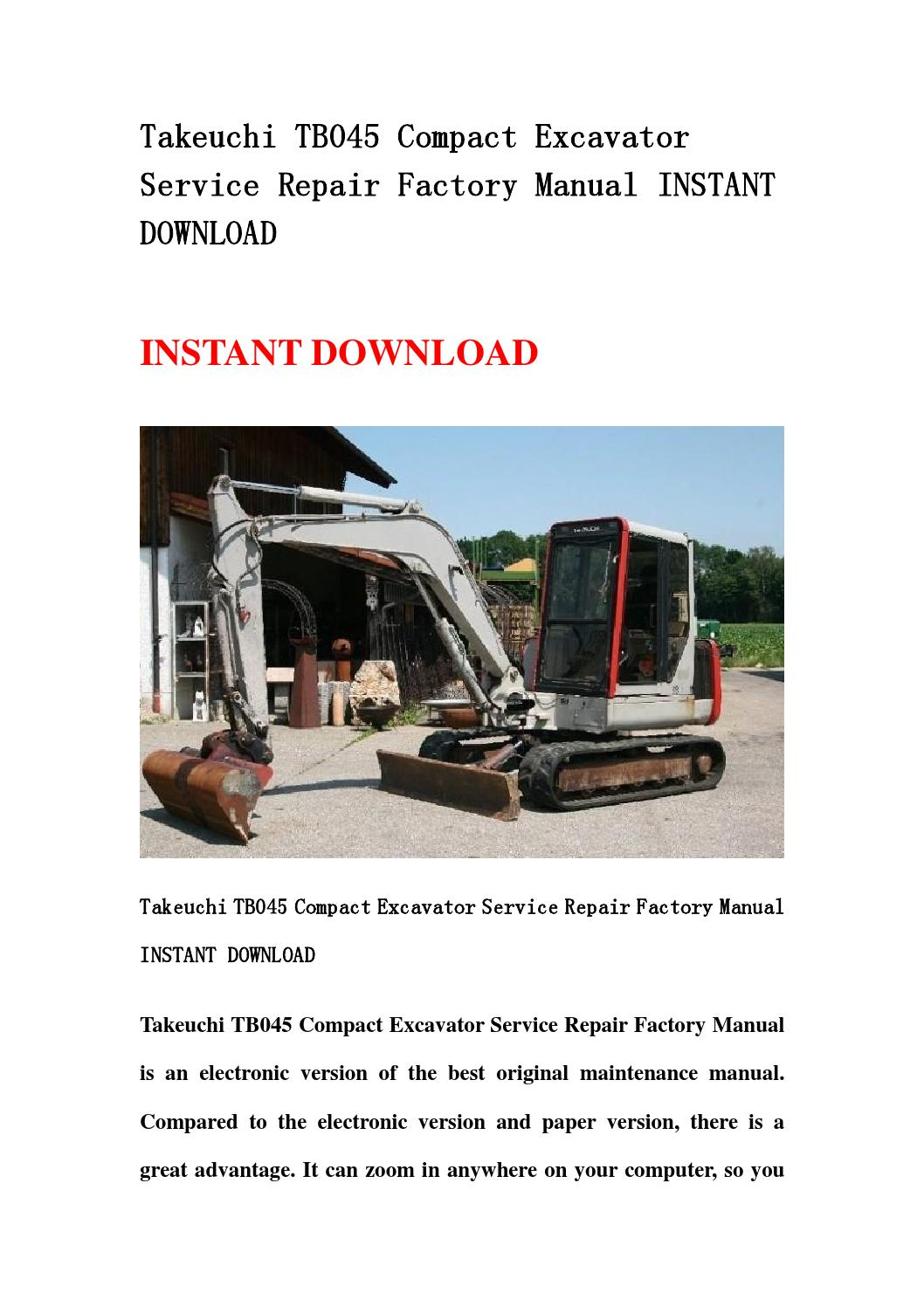 Takeuchi tb045 compact excavator service repair factory manual instant  download by d-repairmanual - issuu
