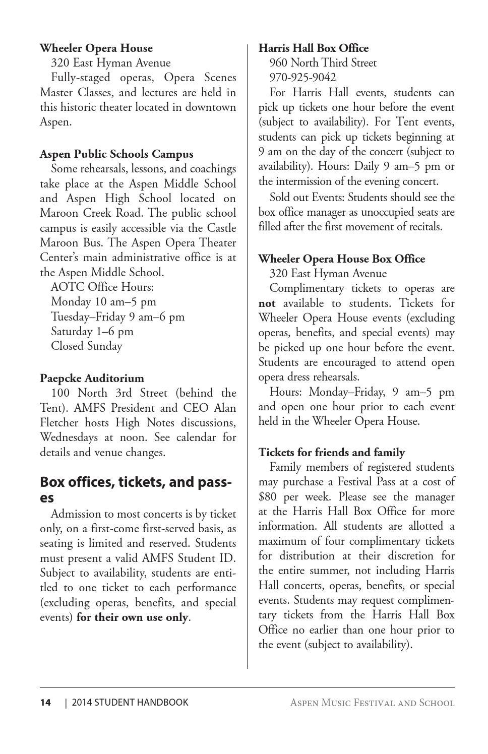 2014 Student Handbook by Aspen Music Festival and School - issuu