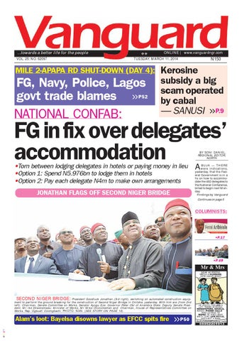 national confab fg in fix over delegates accommodation by vanguard