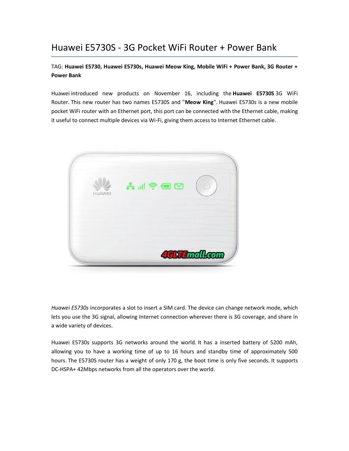 Huawei E5730S - 3G Pocket WiFi Router + Power Bank by Lte Mall - issuu