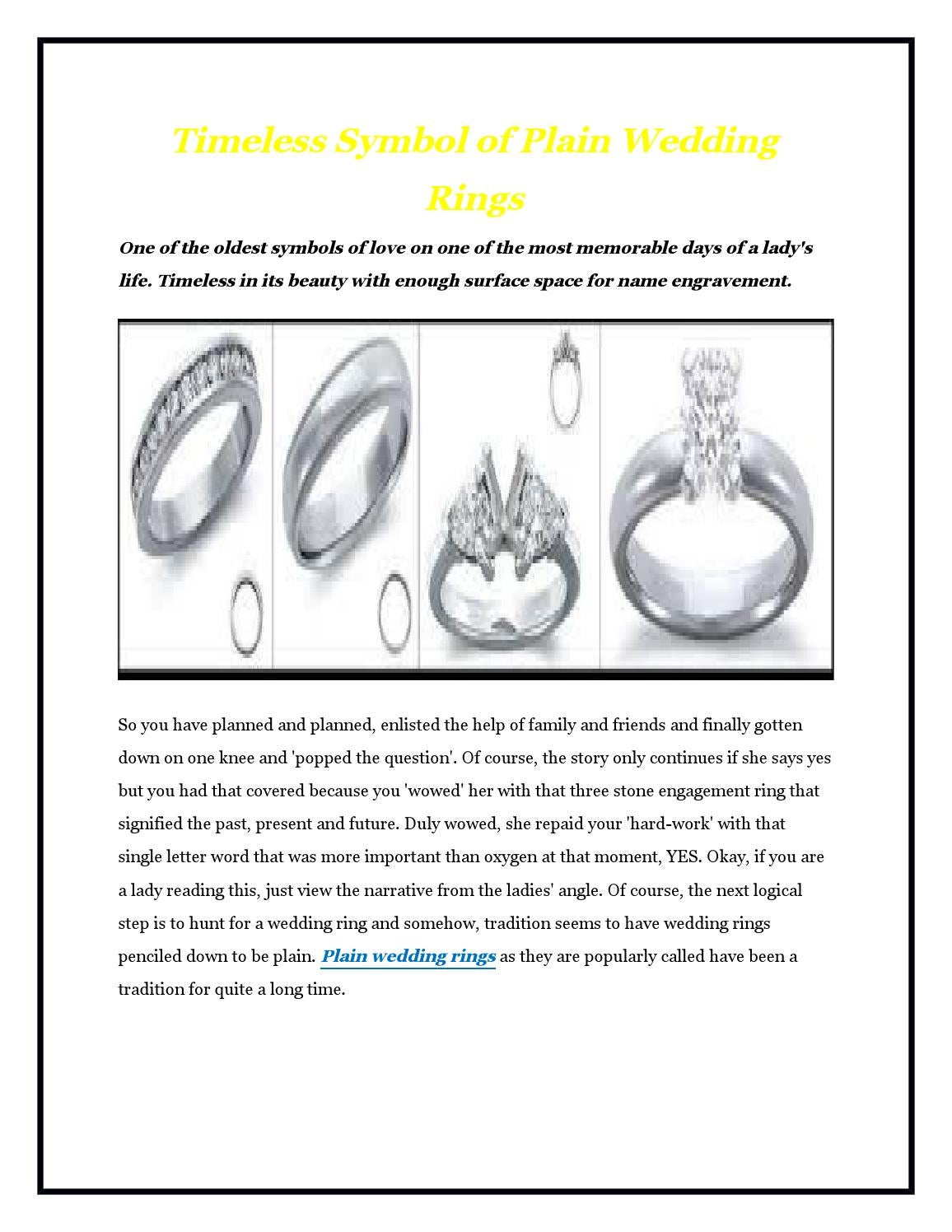Timeless Symbol Of Plain Wedding Rings By Britneawilson Issuu