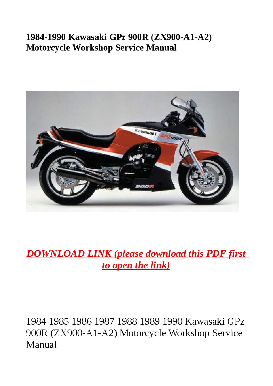 1984 1990 kawasaki gpz 900r (zx900 a1 a2) motorcycle workshop service manual  by yghj - issuu
