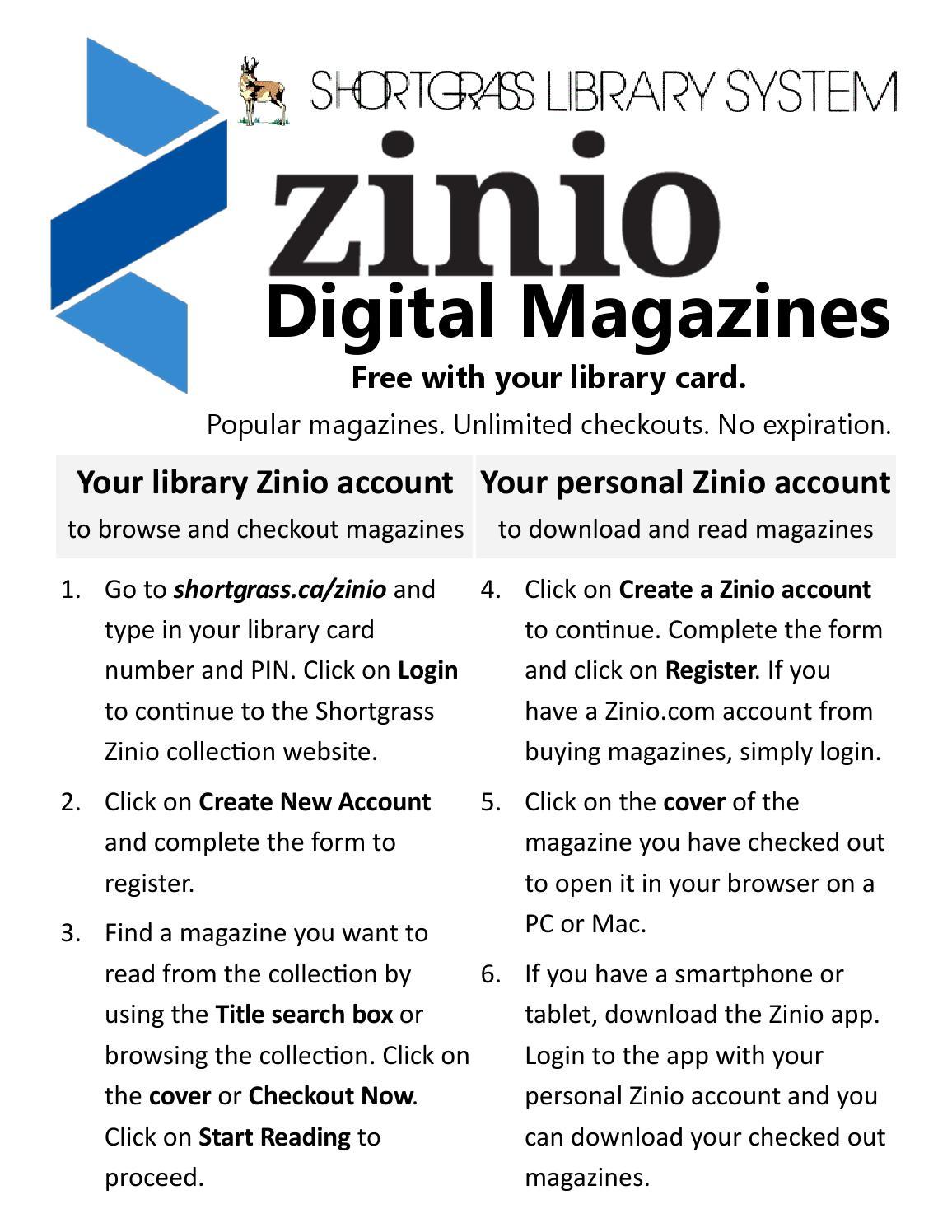 Zinio Cheat Sheet by Shortgrass Library System - issuu