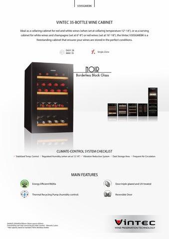 35 Bottle Single Zone V30sgmebk Product Flyer By Vintec
