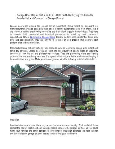 Garage Door Repair Richmond Hill Help Earth By Buying Eco Friendly