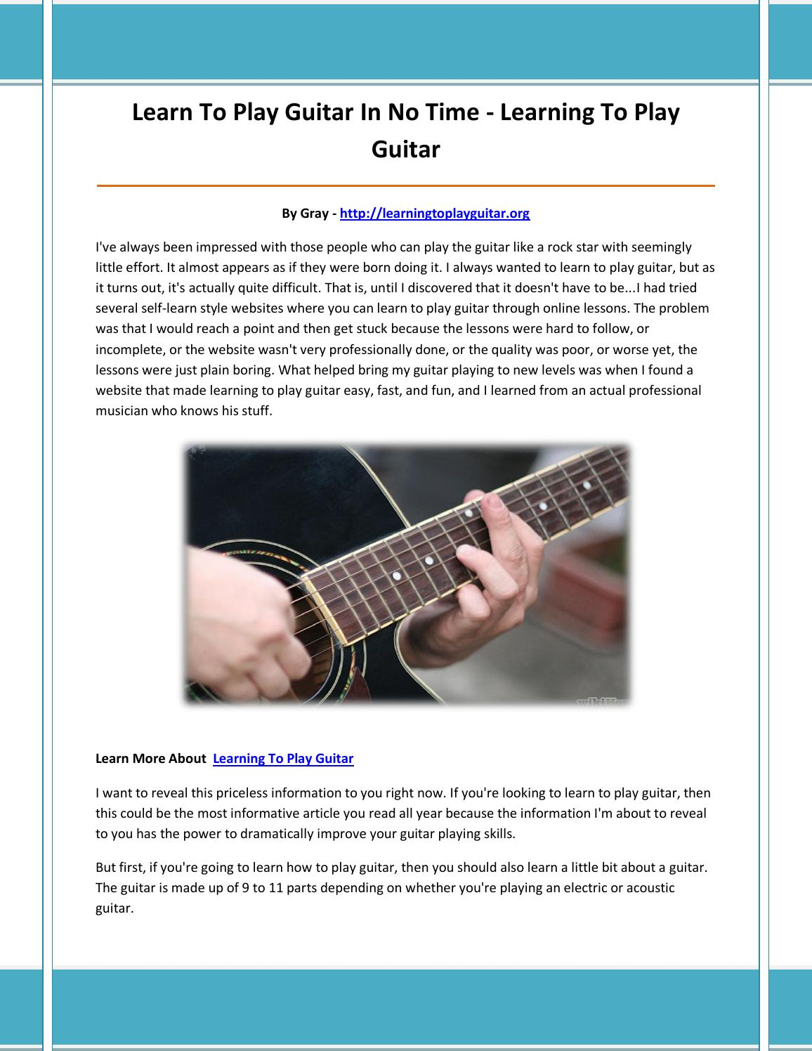Learning To Play Guitar By Nmjnbv Issuu