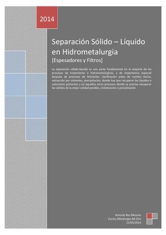 48158b1af Separación Sólido – Líquido en Hidrometalurgia by Antonio Ros Moreno ...