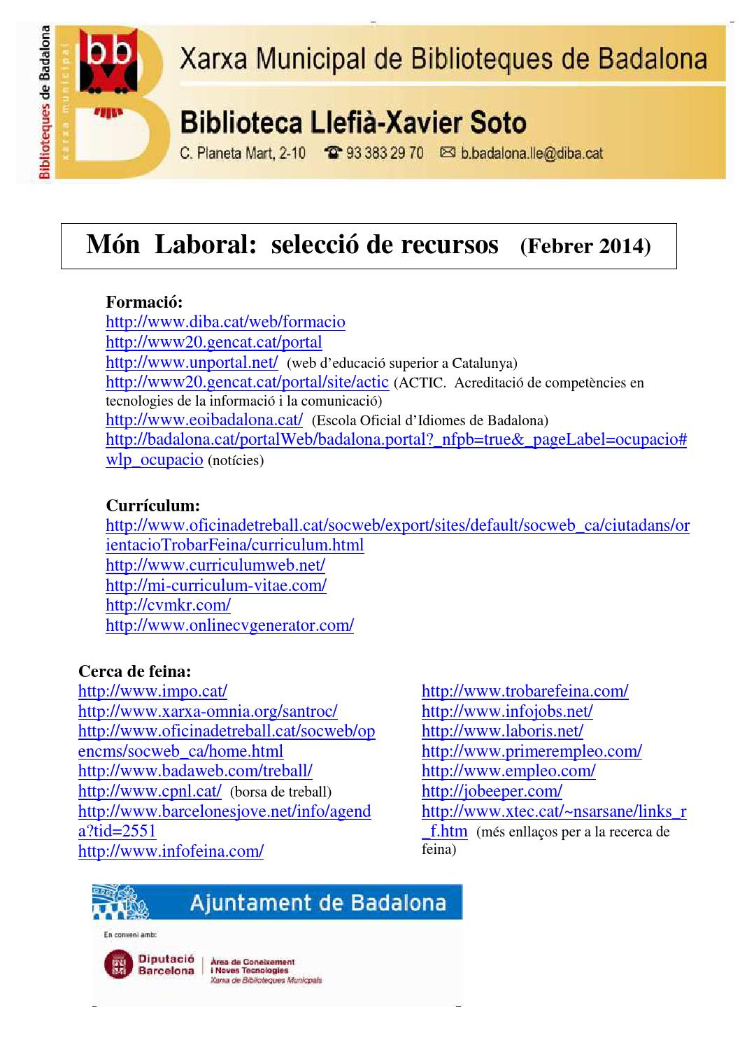 Recursos web m n laboral by biblioteques de badalona issuu for Oficina treball cat