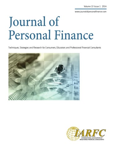 journal of personal finance volume 13 issue 1 by iarfc issuu