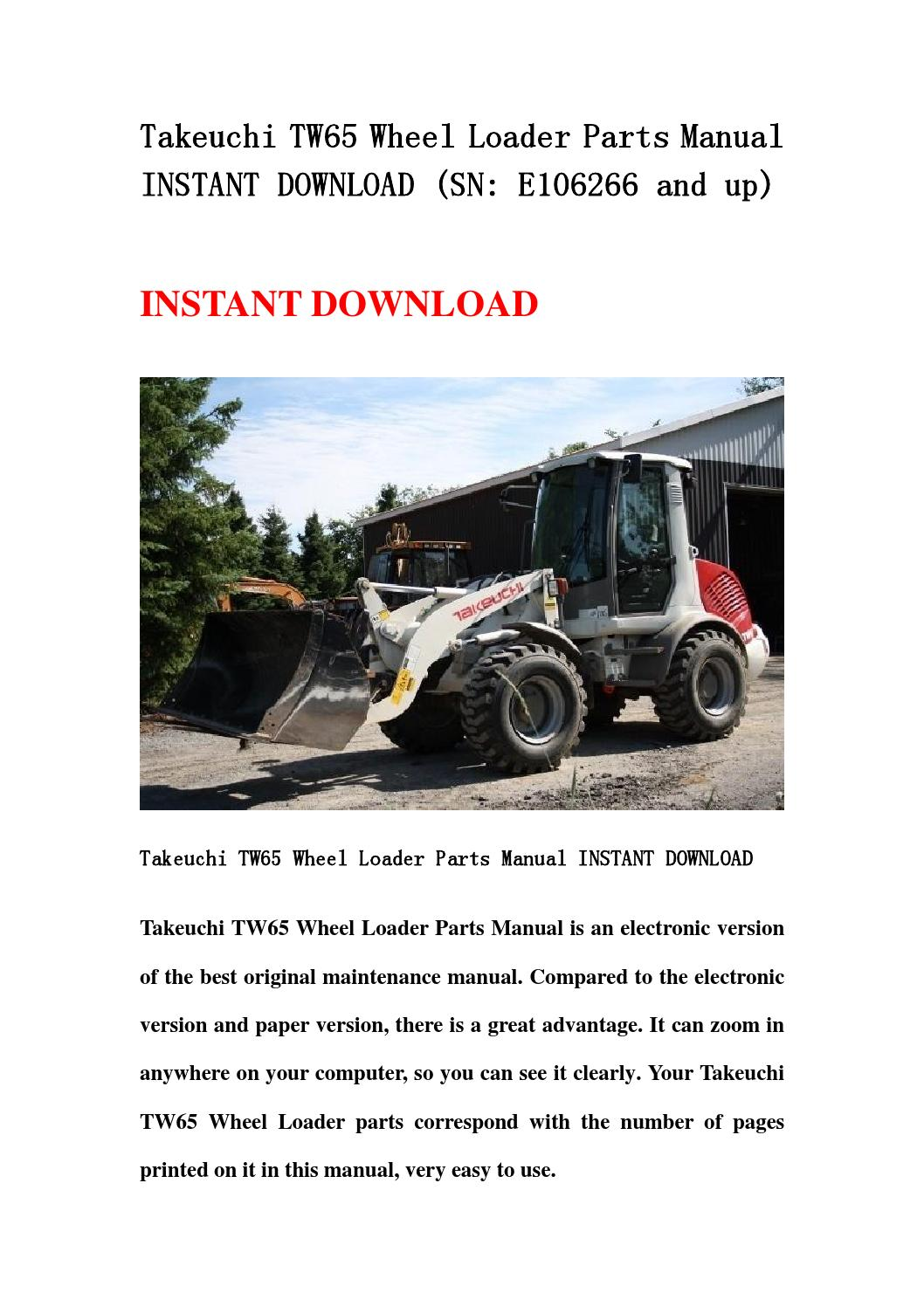 takeuchi tw65 wheel loader parts manual instant download. Black Bedroom Furniture Sets. Home Design Ideas