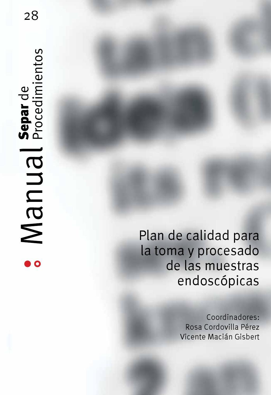 Manual 28 de procedimientos SEPAR. Plan de calidad para la toma y ...