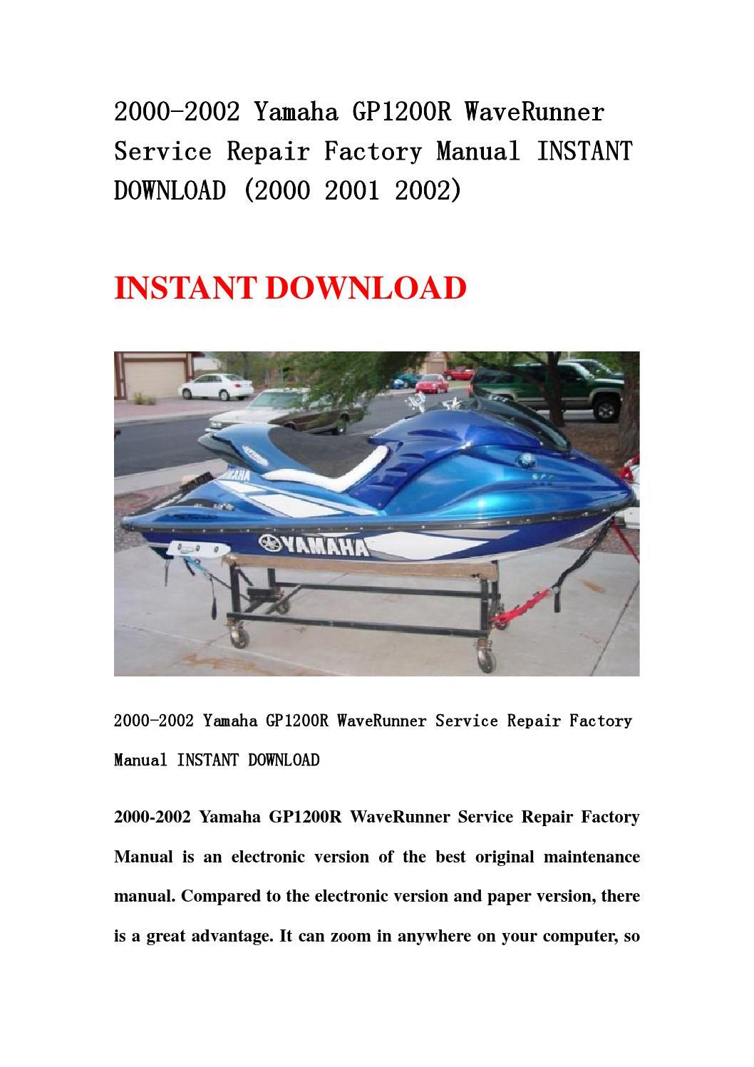 2000 2002 Yamaha Gp1200r Waverunner Service Repair Factory