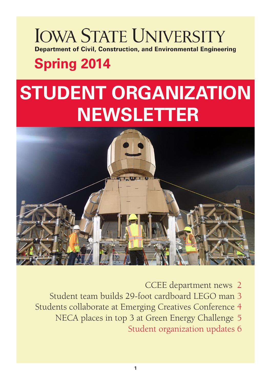 spring  ccee student organization newsletter  civil construction  environmental
