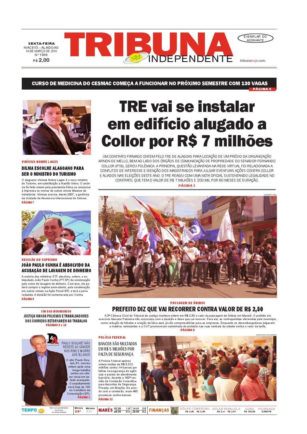 7f79dc57567 Edição número 1994 - 14 de março de 2014 by Tribuna Hoje - issuu
