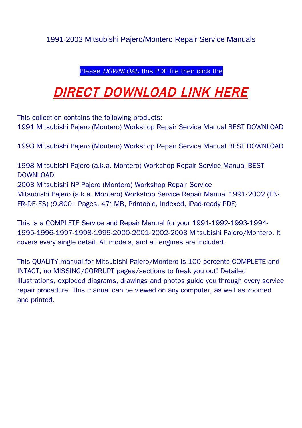 np pajero workshop manual download