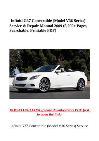 Infiniti g37 convertible (model v36 series) service & repair