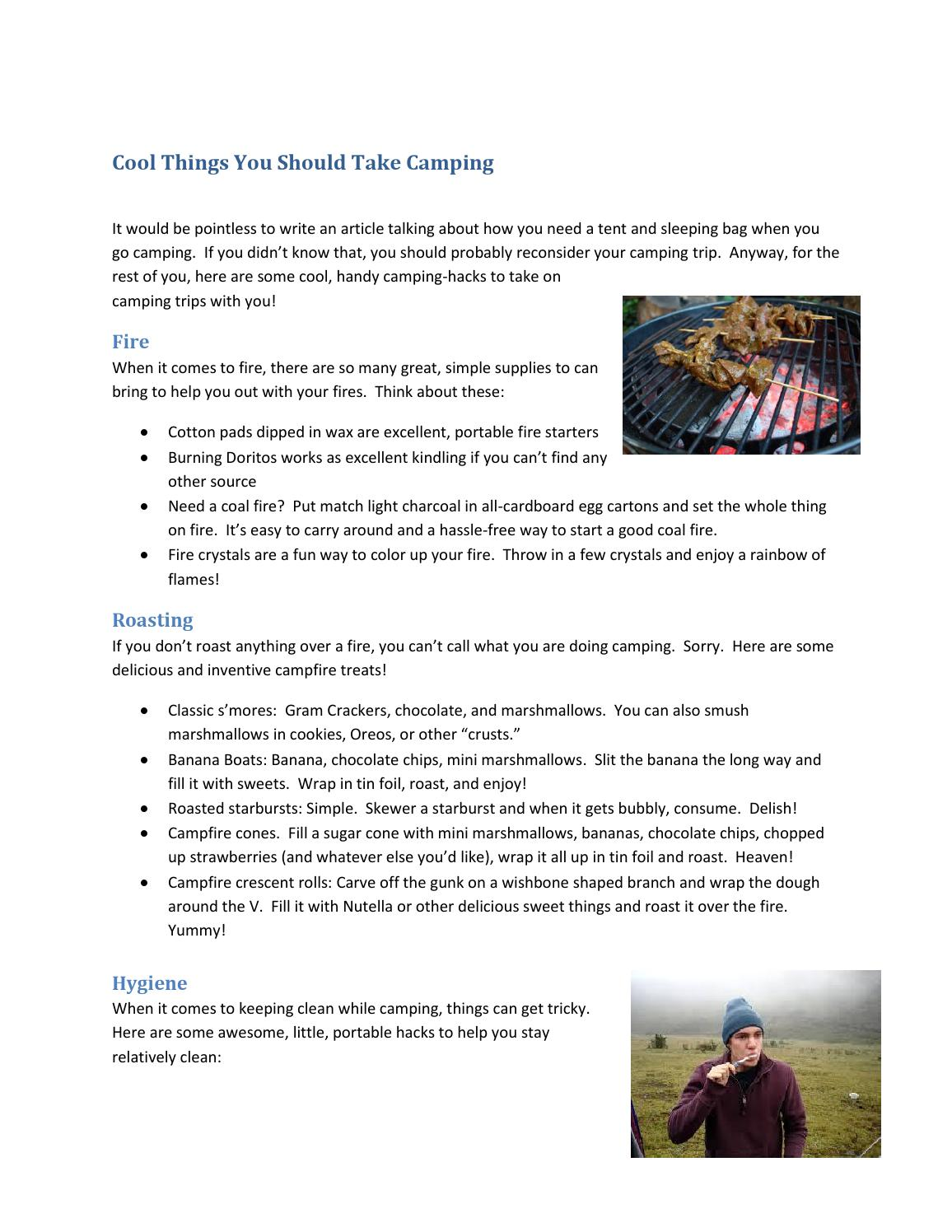 cool things you should take camping by mcclain my - issuu