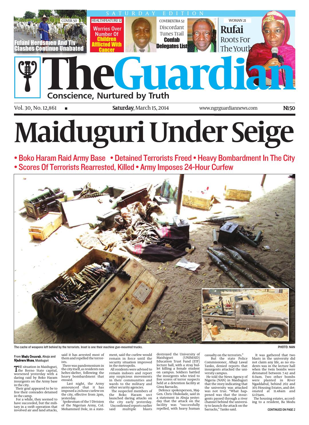 Sat Mar 2014 by The Guardian Newspaper - issuu