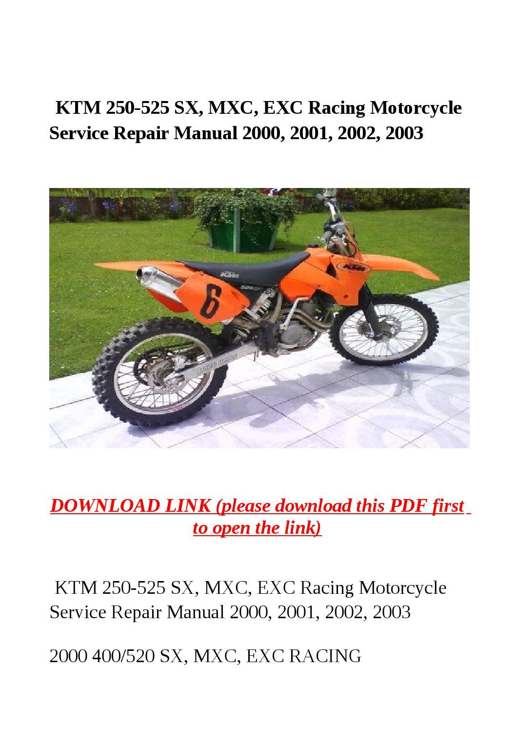 Ktm 250 525 sx, mxc, exc racing motorcycle service repair manual 2000,  2001, 2002, 2003 by yghj - issuu