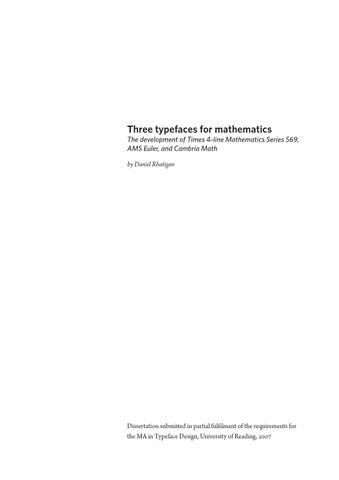 Three typefaces for mathematics by matd issuu three typefaces for mathematics the development of times 4 line mathematics series 569 ams euler and cambria math by daniel rhatigan spiritdancerdesigns Gallery