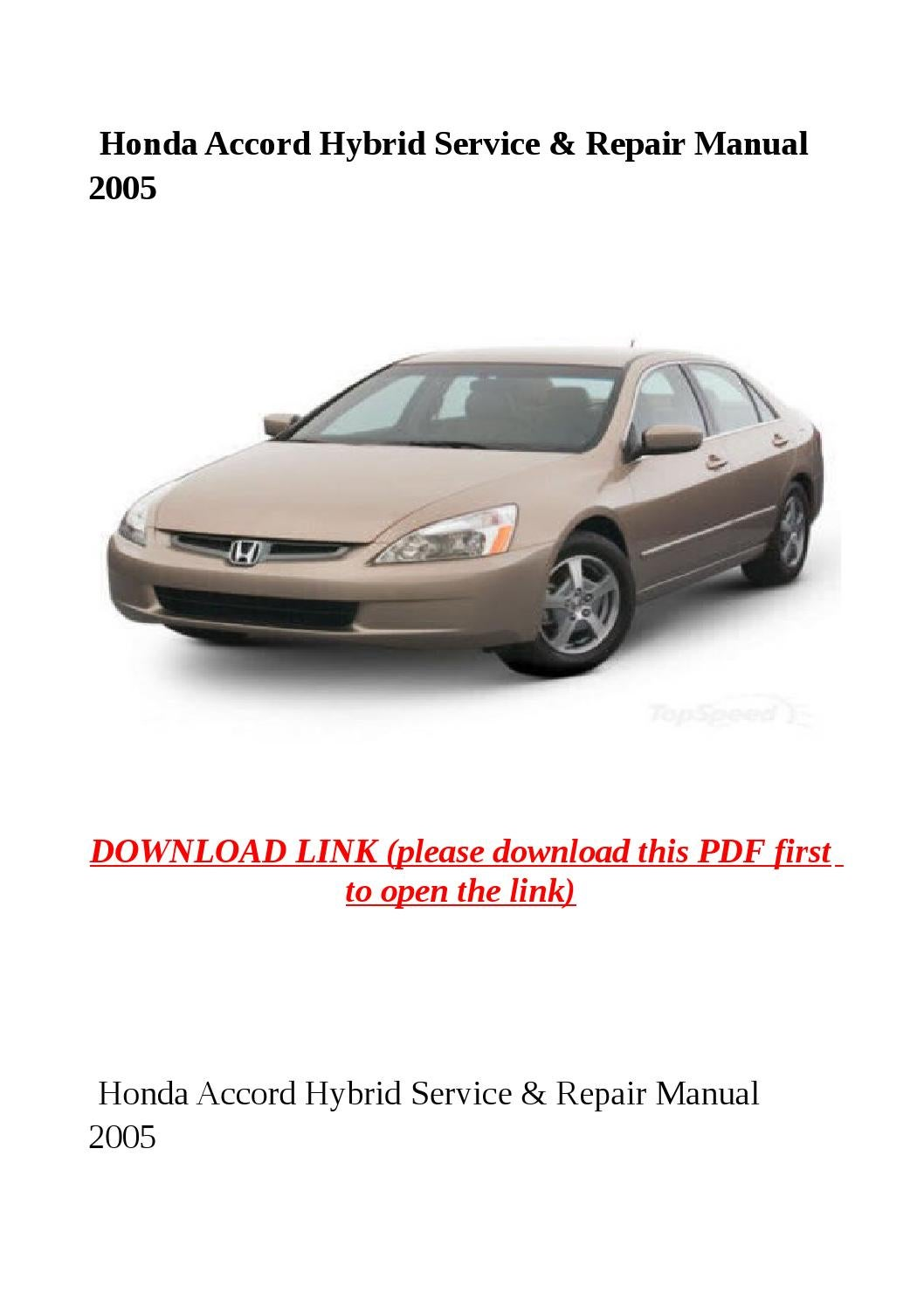 honda accord repair manual pdf