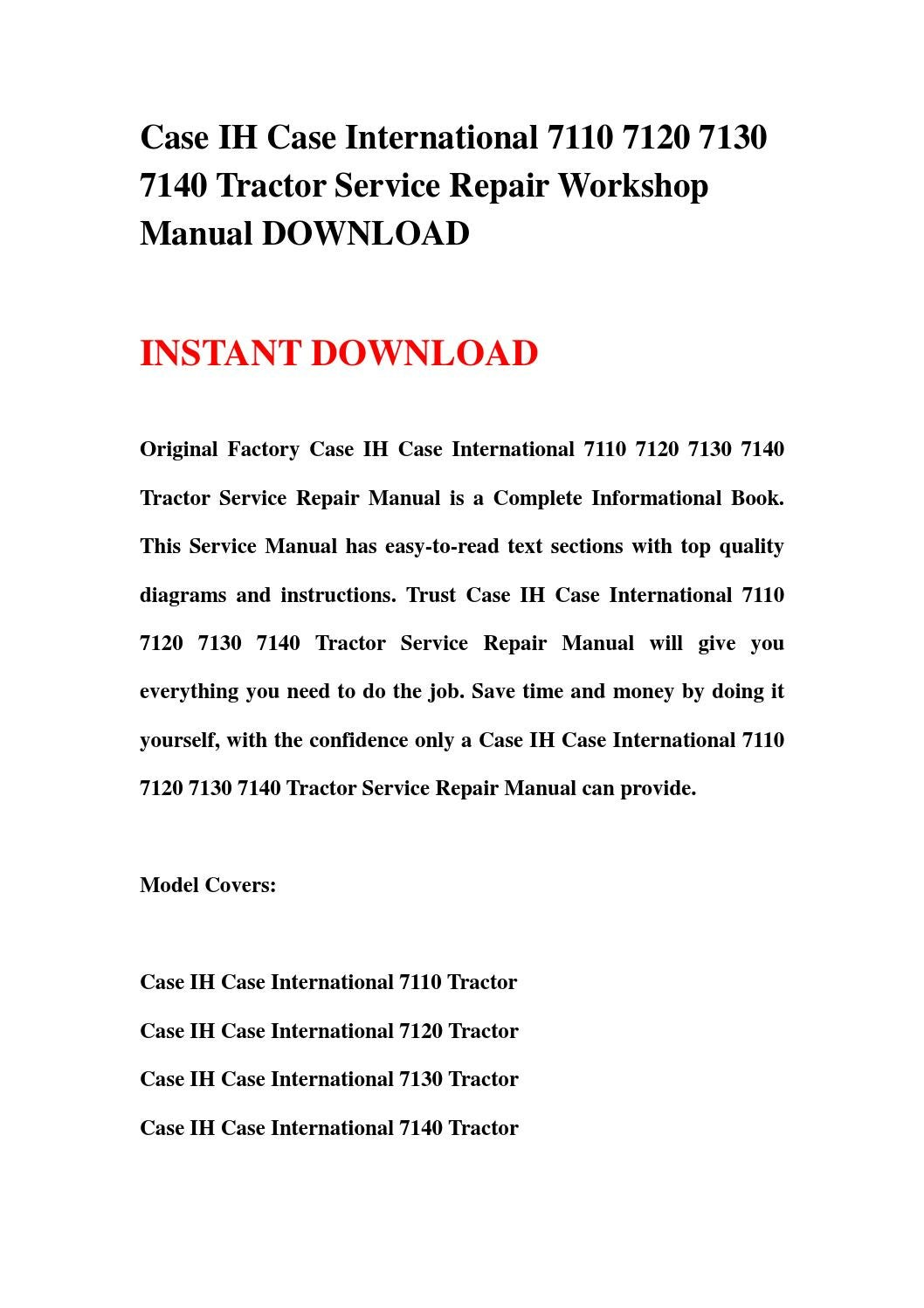 Case Ih Case International 7110 7120 7130 7140 Tractor Service Repair Workshop Manual Download