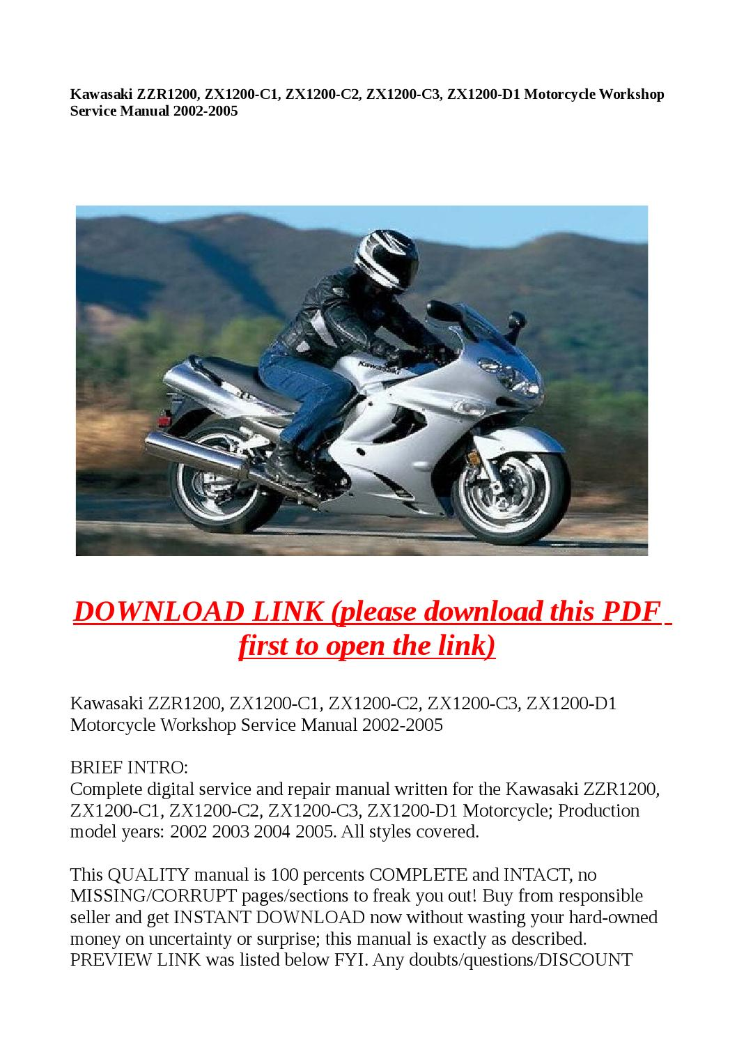 Kawasaki Zzr1200 Zx1200 C1 C2 C3 D1 Wiring Diagram Motorcycle Workshop Service Manual 2002 By Dale Issuu