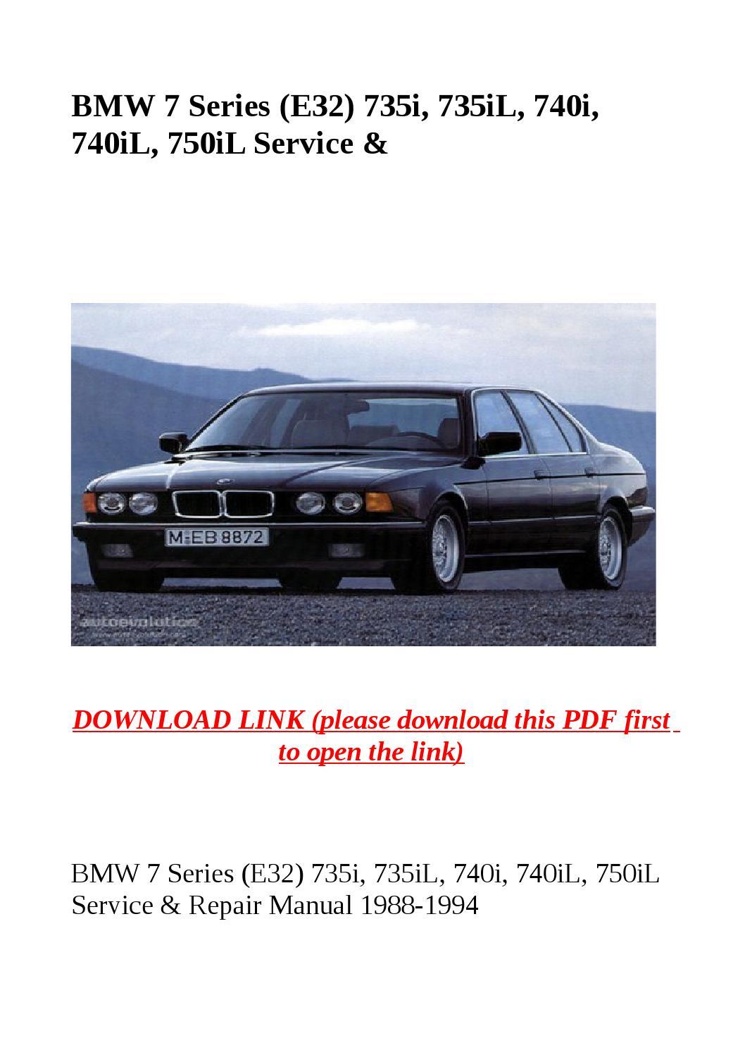 Bmw 7 series (e32) 735i, 735il, 740i, 740il, 750il service & by dale - issuu